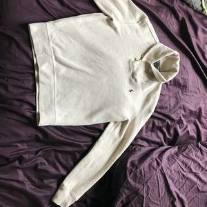 CREME POLO SWEATER W/ ELBOW PATCHES
